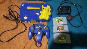Pikachu Pokemon Nintendo N64 Console PAL UK (Tested & Working w/ Games)