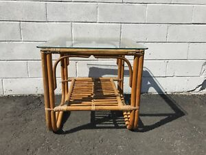 Coffee-Table-Cocktail-Rattan-Bohemian-Boho-Chic-Accent-Side-Stand-Chippendale