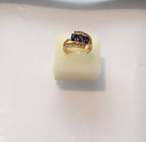 Blue-Sapphire-Women-10KT-Yellow-Gold-Filled-Ring-Size-8