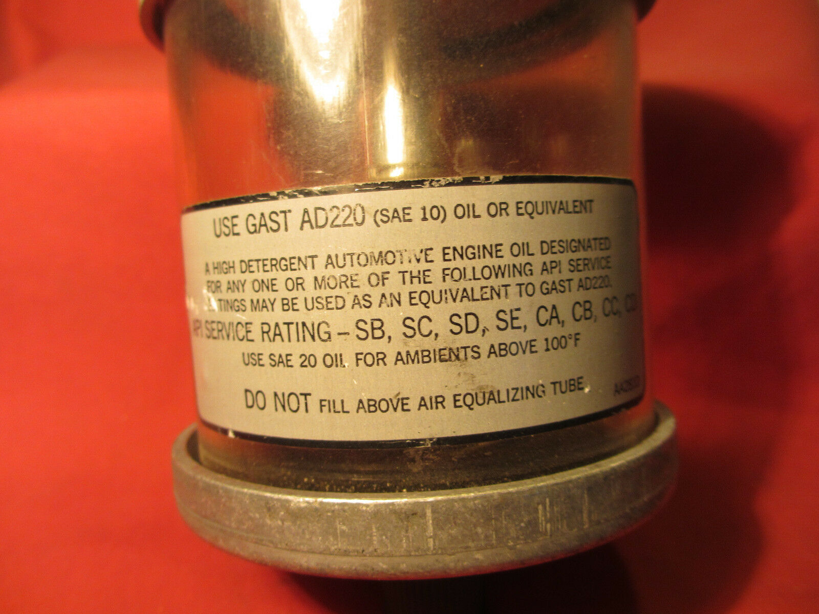 Spring Loaded Oil Reservoir Use with AD220 Gast AA960-1