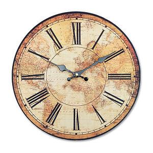 Retro Vintage Style Large Clocks World Map Globe Home ...