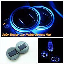 2* Blue Solar Cup Holder Bottom Pad Mat LED Light Trim For All Cars All Models