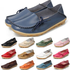 Women-Ladies-Leather-Slip-On-Ballet-Shoes-Moccasins-Oxfords-Loafers-Flats-Shoes