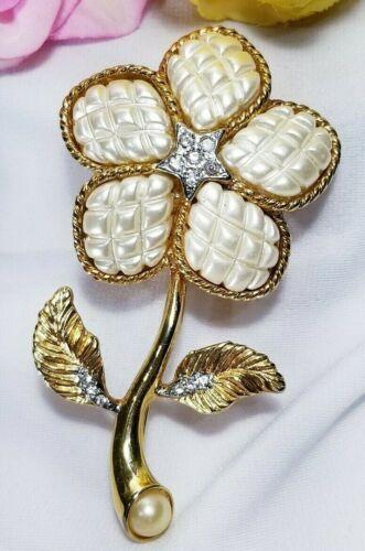 Vintage Gold Pearl Rhinestone Long Stem Flower Bro