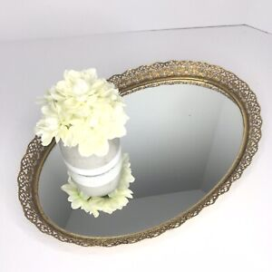 Vintage-Large-Oval-Gold-Tone-Filigree-Vanity-Tray-Mirror-Hollywood-Regency-17x12