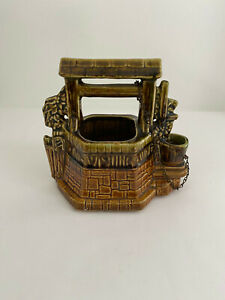 Vintage-McCoy-USA-Pottery-Oh-Wishing-Well-Grant-a-Wish-to-Me-Planter