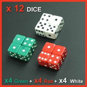 x-12-Opaque-Dice-Spot-Spotted16-mm-Green-Red-White-Board-Game-Table-Top