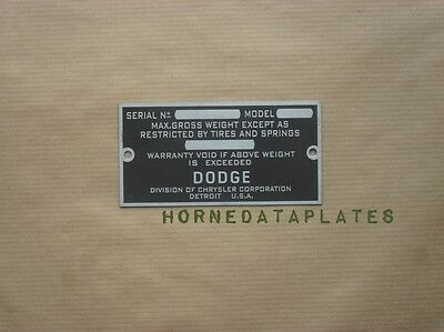 DODGE CARS DATA PLATE 1928 1929 1930 1931 1932 1933 1934 1935 1936 ID TAG