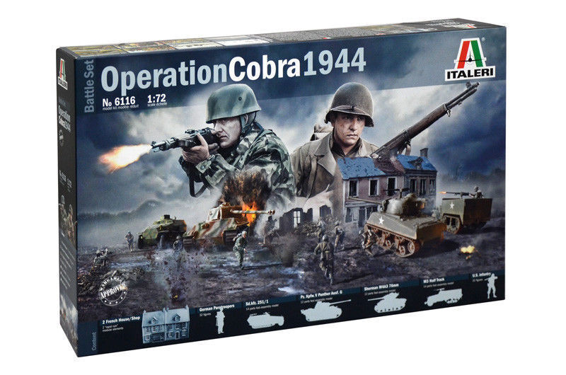 Italeri Operation Cobra 1944 Battle Set Figurines Vehicles 1 72 Item 6116