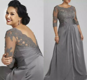 Details about Plus Size Silver Chiffon Half Sleeves Mother of bride Dresses  for Wedding Guest