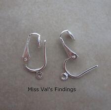 12 silver plated steel earclip clip ear wires earrings pierced look converters