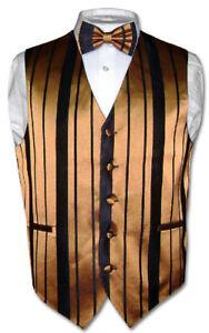 Mens Dress Vest /& Bowtie RED Color Vertical Striped Design Bow Tie Set