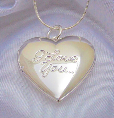 Sterling Silver I Love You Heart Locket Pendant Necklace Photo Gift Box