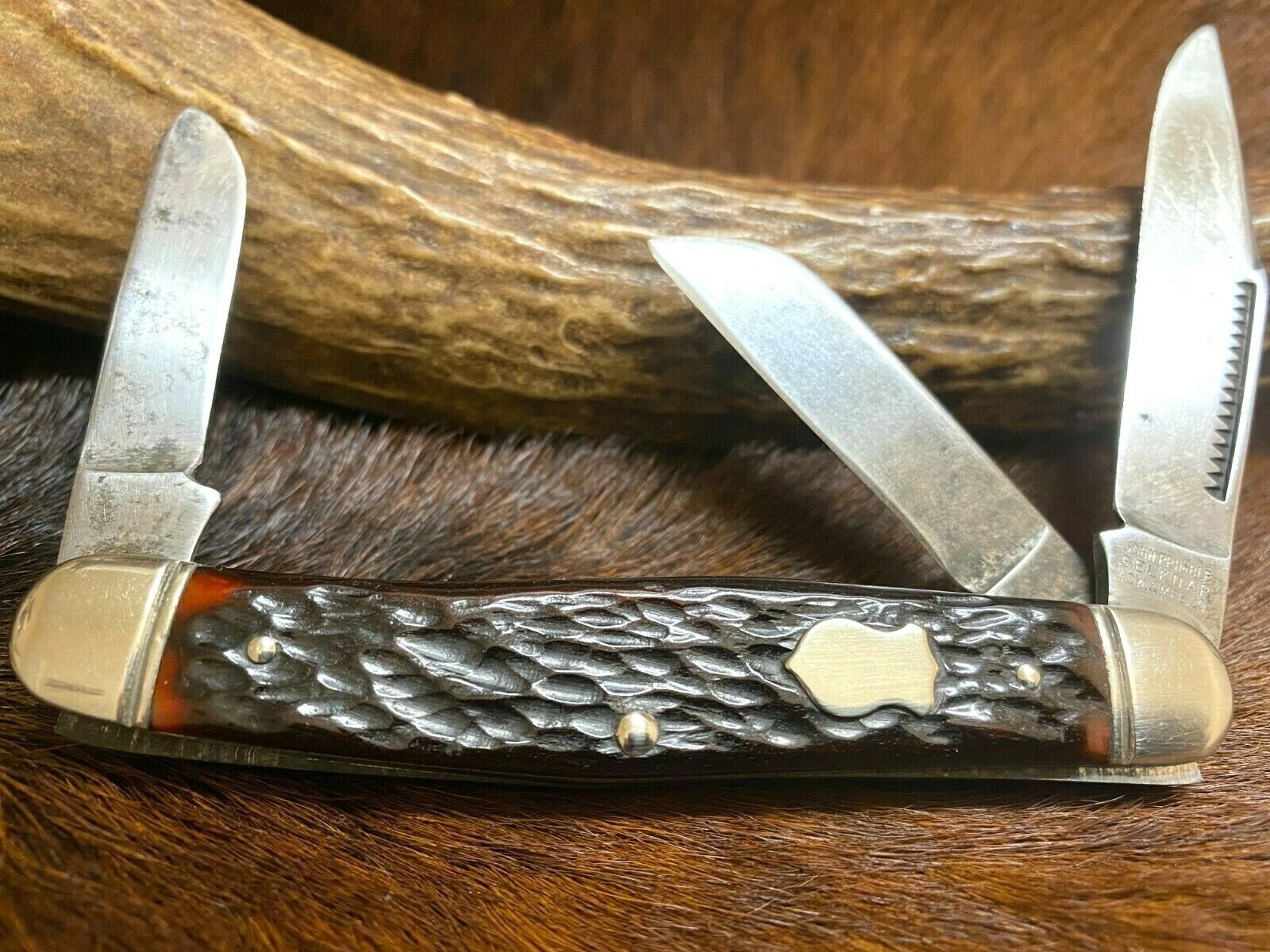 "John Primble #5385 Belknap HDW. & MFG. CO. Brown Bone 3 Blade Stockman Knife 4"""