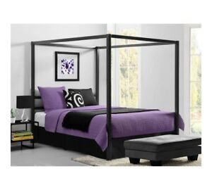 Image Is Loading Canopy Bed Queen Metal Platform Beds Modern Bedroom