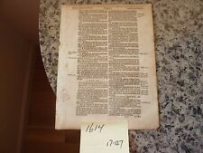 (Leaf) This is an original leaf from The Holy Bible (King James) 1614 (403 yrs)