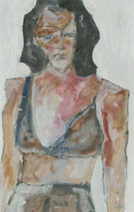 Ben-Carrivick-Signed-Contemporary-Oil-Expressive-Portrait-of-a-Woman