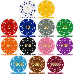 High Quality Suited Numbered 12g Poker Chip Sample Pack Containing