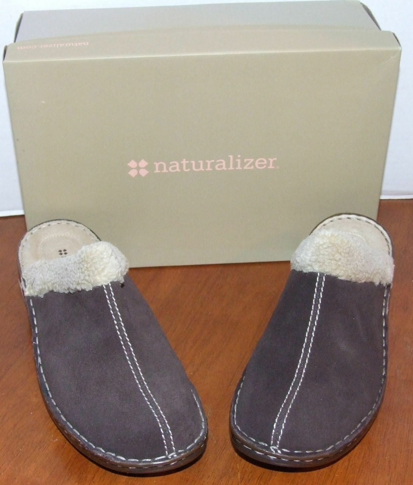 Naturalizer Sterri Oxford Brown or Black  Suede Clogs with Faux Fur Lining
