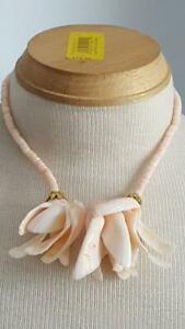 VINTAGE-16-034-PINK-PUKA-SHELL-CLUSTER-FLOWER-ISLAND-BEACH-NECKLACE-GENUINE-FLORAL