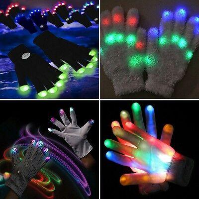 7 Mode LED Black White Rave Gloves Light Up Flashing Finger Lighting Glow USA