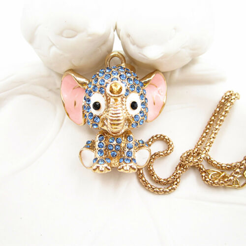 Gold Plated Blue Crystal Cute 3D Baby Elephant Pendant Chain Sweater Necklace