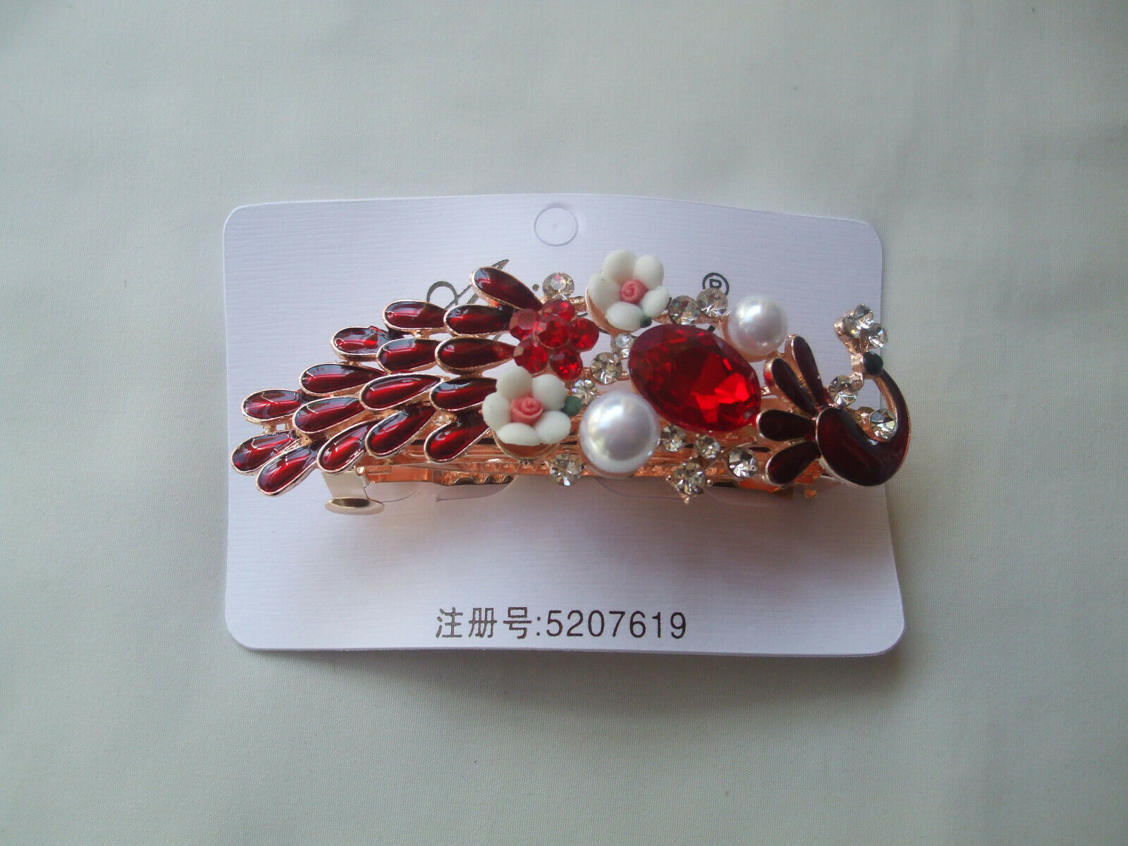 Beautiful Peacock French Clip Red Enamel, Crystal Stones And Pearls New.