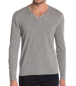 John-Varvatos-Star-USA-Men-039-s-Long-Sleeve-V-Neck-Sweater-Striated-Knit-Grey