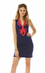 Lilly-Pulitzer-Janice-True-Navy-Blue-Ribbed-Knit-Shift-Dress-Size-S-Embroidered