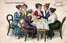 """Neujahr, Frauen am Kaffeetisch """"Verein für Nächstenliebe"""", Scherz-AK, um 1910/20"""