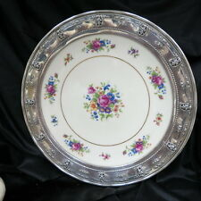 """vintage 13"""" Lenox China plate / charger in Wallace Sterling pierced frame markd"""