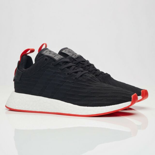 6916b00e3 adidas Originals NMD R2 PK Primeknit Black Red Men Running Shoes ...