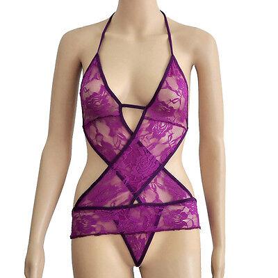 Women's Sexy Black Lace Lingerie Babydoll Sleepwear Underwear Dress G-String New