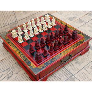 Chinois-Jeu-d-039-echecs-echiquier-en-Bois-Resine-26x26cm-Statues-de-8