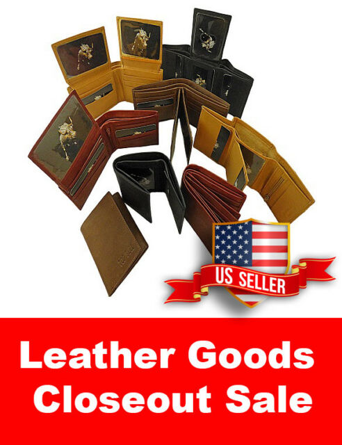 WHOLESALE LOT of 5 Genuine Leather wallet card case bifold trifold checkbook^^