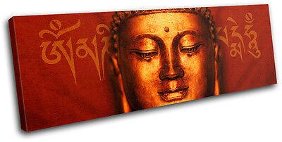 Buddha Peace Red Religion SINGLE CANVAS WALL ART Picture Print VA
