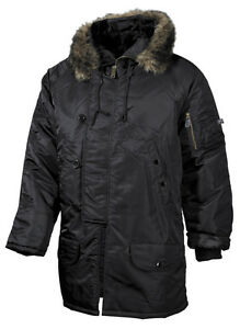 Noir Parka Polar Mfh Veste Jacket N3b Veste Veste Hommes Anorak xxl S Hiver SFUvwqB