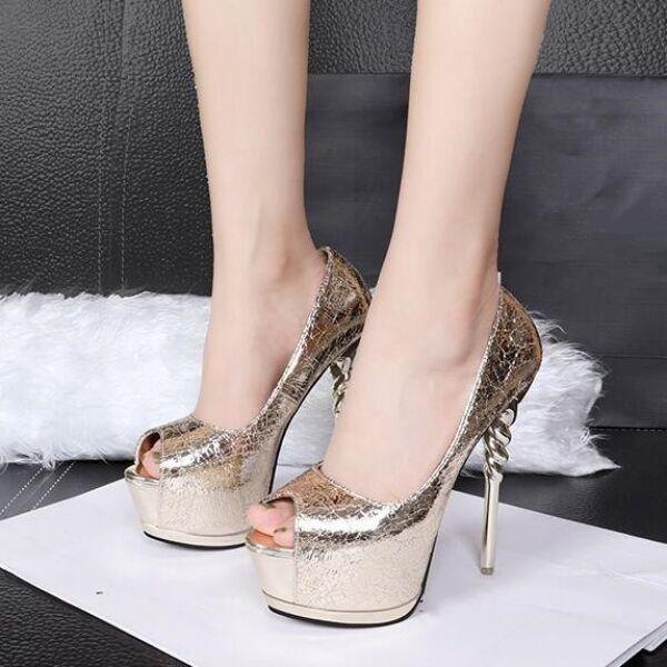 liquidazione fino al 70% Decolte sandali sandali sandali donna oro oro aperto open tacco plateau 14 cm simil pelle 8040  seleziona tra le nuove marche come