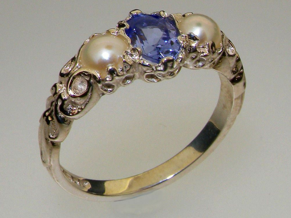18ct 750 White gold Natural Tanzanite & Pearl Womens Trilogy Ring - Sizes J to Z