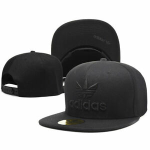 8d9c657c00b Image is loading Embroidered-Adidas-Trefoil-Snapback-Flat-Cap-Black-One-