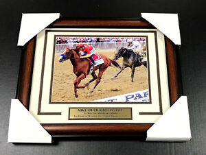 MIKE-SMITH-JUSTIFY-BELMONT-STAKES-FRAMED-8X10-STEINER-PHOTO-2018-TRIPLE-CROWN