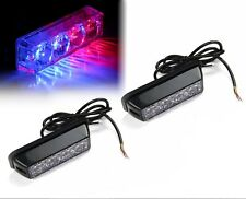 2x 4 LED Emergency Vehicle Grille Marker Flash Deck Dash Strobe Light Red & Blue