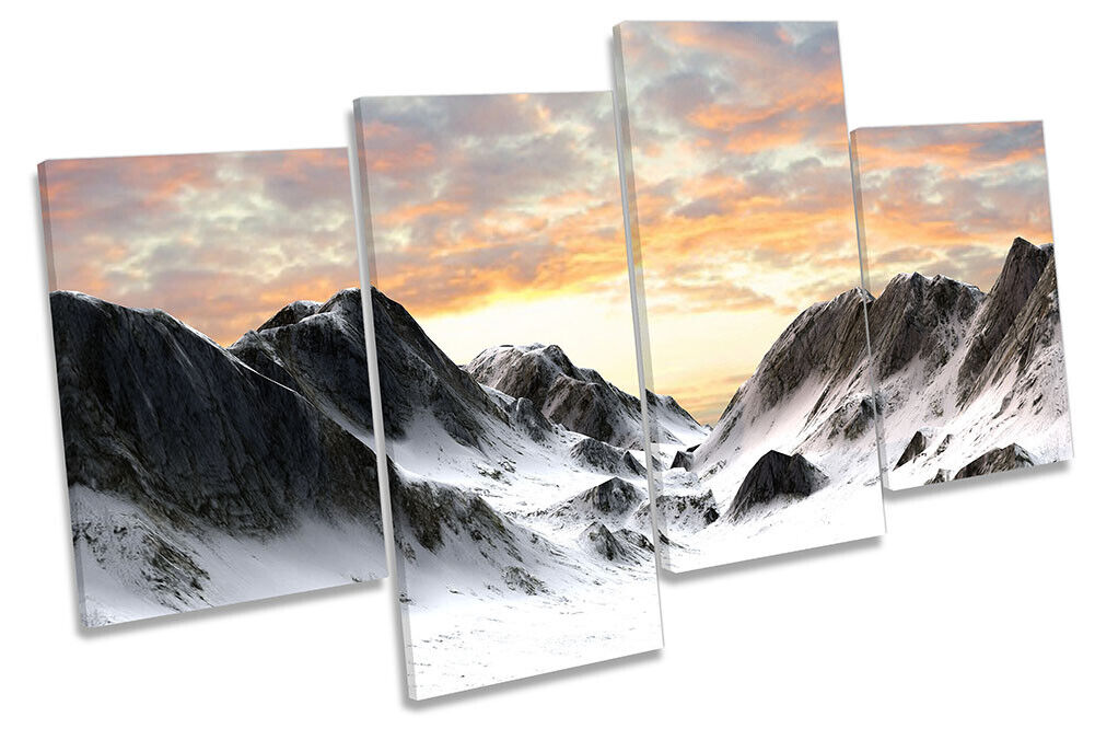 Snowy Mountains Landscape Picture MULTI CANVAS WALL ART Print Multi-Colourot
