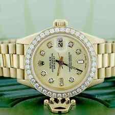 Rolex President Datejust Ladies Gold 26MM Watch w/Champagne Diamond Dial & Bezel