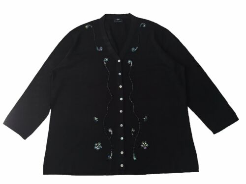 bestickt Damencardigan 100/%Seide Übergröße 42-60 Fb.schwarz Räumungsverkauf