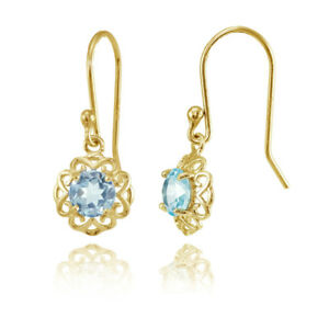 Yellow-Gold-over-Sterling-Silver-Blue-Topaz-Filigree-Dangle-Earrings