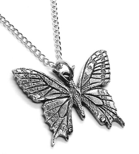 Silver Pewter Made in The UK Swallowtail Butterfly Pendant Necklace with Chain