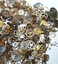 7.5g Gears Lot Old Steampunk Watch Parts Pieces Vintage Antique Cogs Wheels
