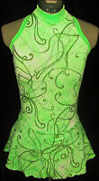 Lime Green Competition Ice Skating Dress / Girls Large 12 / 14