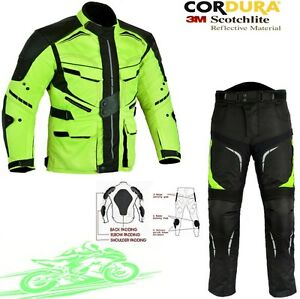FULL-HIVIZ-MENS-CE-WINTER-MOTORBIKE-MOTORCYCLE-TEXTILE-JACKET-TROUSERS-SUIT